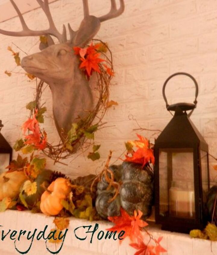 my dining room mantel woodsy and natural featuring buck, seasonal holiday d cor