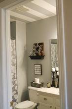 striped bathroom ceiling, bathroom ideas, home decor, painting, small bathroom ideas, wall decor