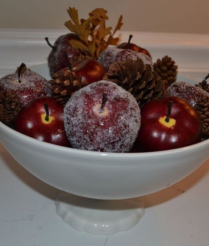 A Glittered Apple Display is perfect for Fall and Winter