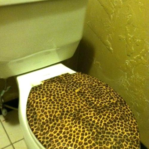 Decoupage toilet seat lid. I put 2 coats of poly over it so I could wipe it down. Its holding up great.