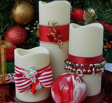 decorate candles using christmas jewelry christmas decorations crafts seasonal holiday decor - Candle Decoration
