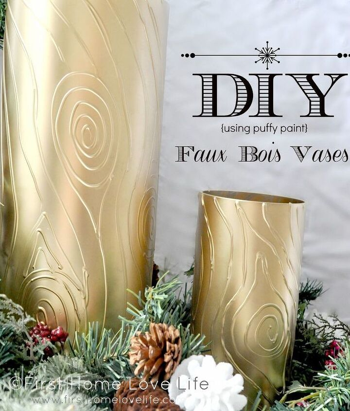 diy faux bois glass vases, crafts
