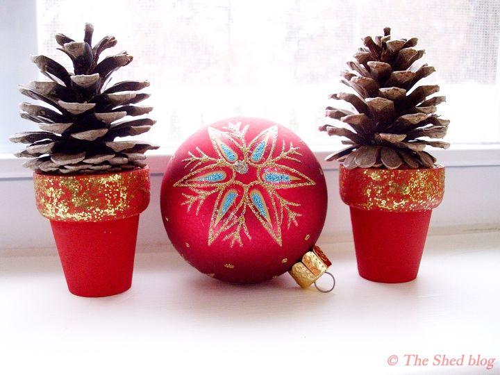 pinecone craft mini pinecone tree pots, christmas decorations, crafts,  seasonal holiday decor,