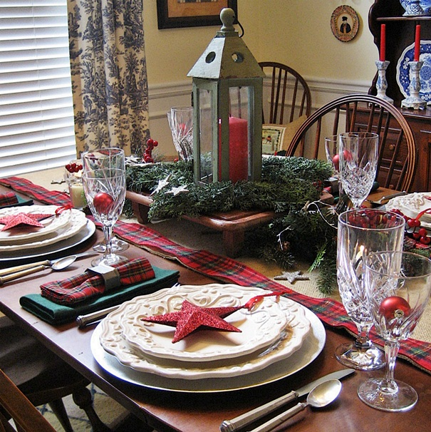 My starry burlap and plaid christmas tablescape hometalk for Tablescape decor