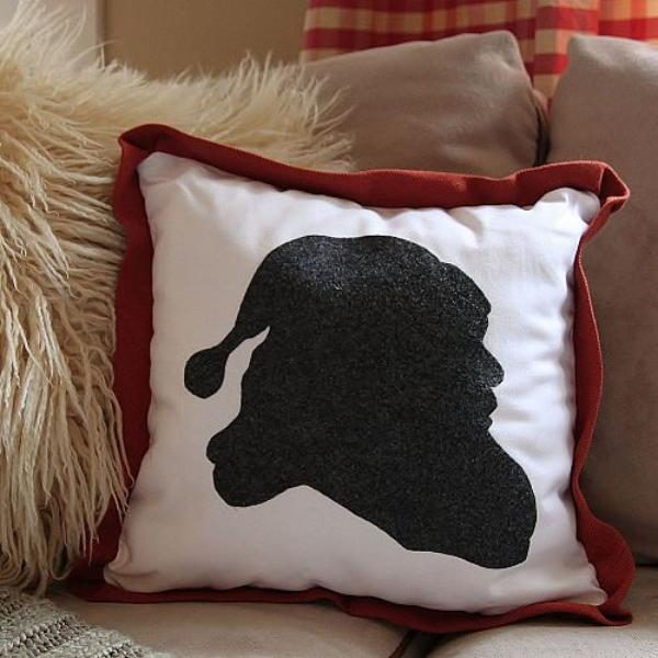 a santa silhouette pillow how to, christmas decorations, crafts, seasonal holiday decor