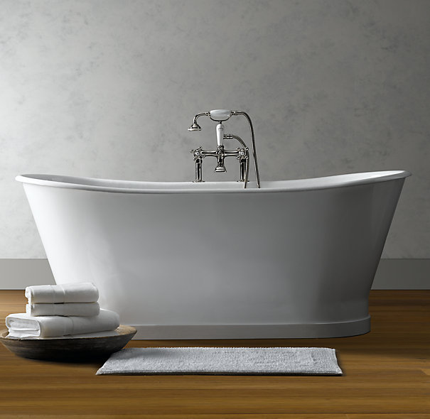 cozy amp warm tub trends, bathroom ideas, home decor, Soaking Tubs Are The 1 Trend in Tubs This Piedmont Pedestal Soaking Tub by Restoration Hardware boasts Tub Fill with Handheld Shower
