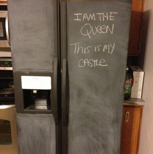 i painted my refrigerator with chalkboard paint, appliances, chalk paint, chalkboard paint, painting, My fridge after I primed it with a coating of chalk