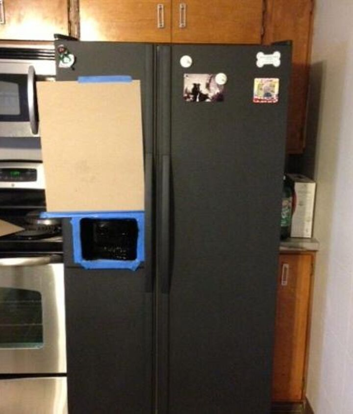 i painted my refrigerator with chalkboard paint, appliances, chalk paint, chalkboard paint, painting, Taping off the ice maker unit for spray paint
