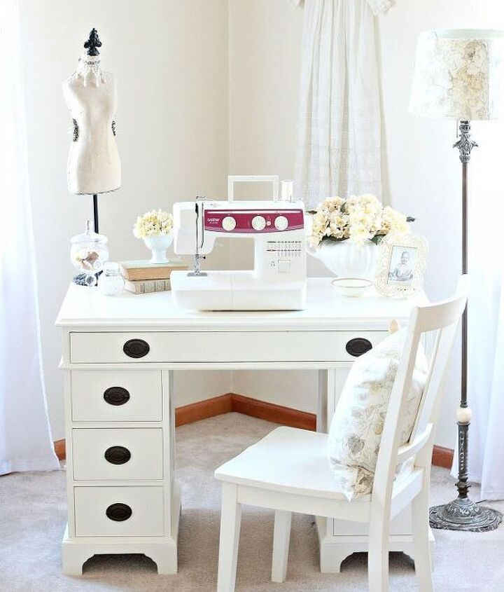 goodwill desk makeover, painted furniture