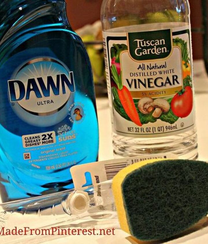 Mix half liquid dish detergent with half vinegar in dishwashing wand.