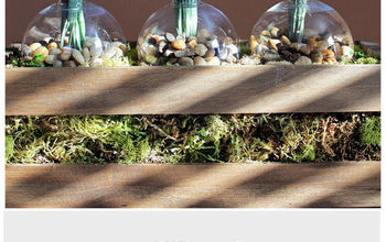 Wood Planter Box Using Clear Ornaments as the Vases