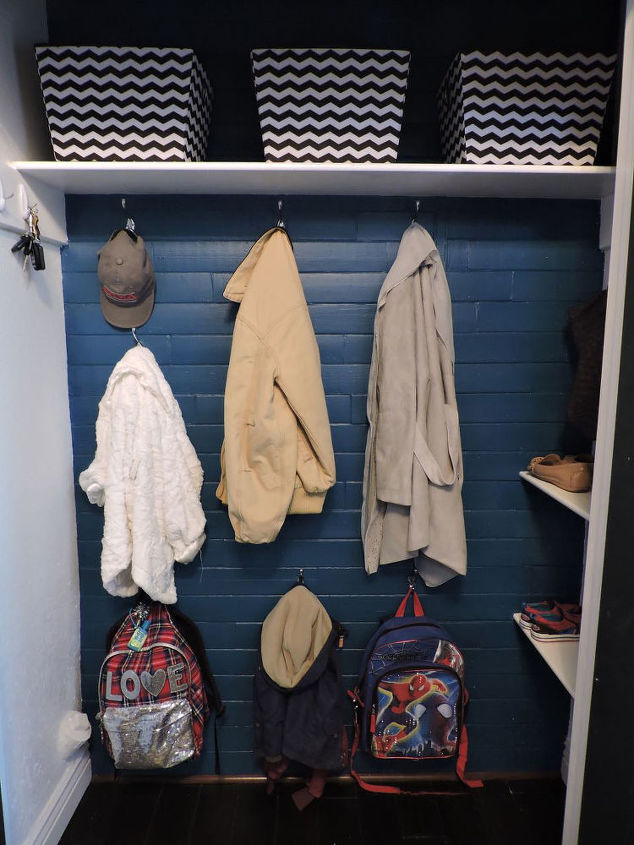 how to revamp your entry closet, closet, foyer, organizing, storage ideas, The closet after