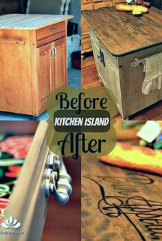 kitchen island before amp after, kitchen design, kitchen island, painted furniture, Before After