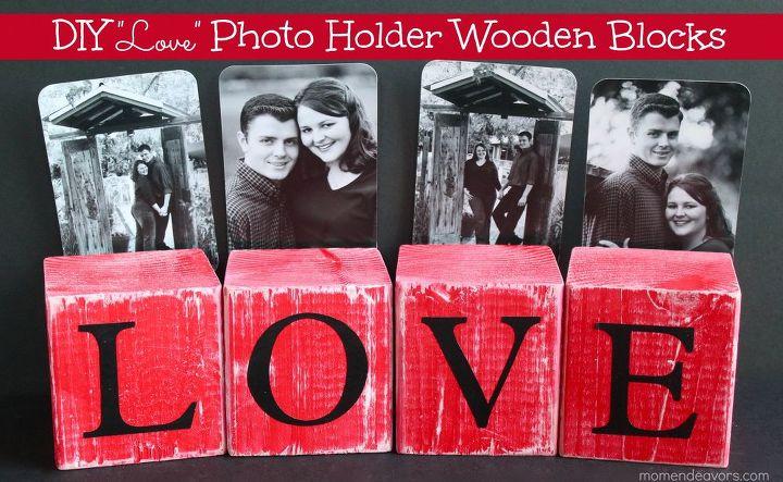 diy photo holder wooden blocks, crafts, home decor