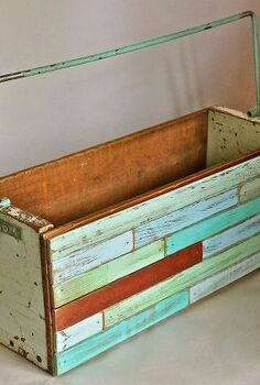 diy repurposed wooden boxes, repurposing upcycling, Turquoise bar handle original color was salvaged from a vintage deck chair and was simply meant to be reincarnated here