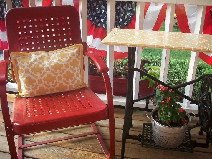 i miss my porch when s spring summer, home decor, outdoor living, porches, My favorite things are our vintage metal chairs and the table made from a 1906 White sewing machine Many thanks to MWHP My Wonderful Hubby Phil for wrangling that machine back home from the flea market I found it at