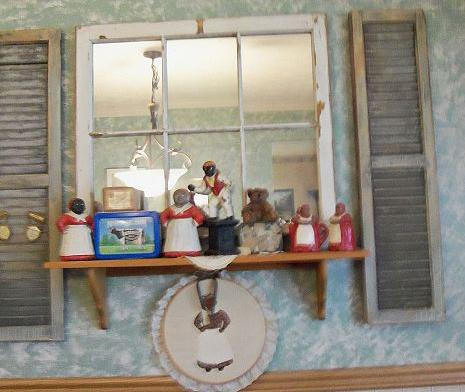 Dinning room... 1940's window turned into a mirror.