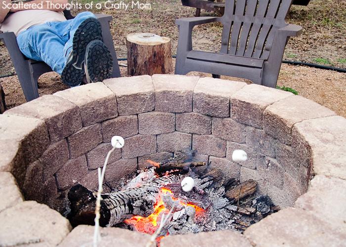 simple diy outdoor fire pit, concrete masonry, diy, landscape, outdoor living