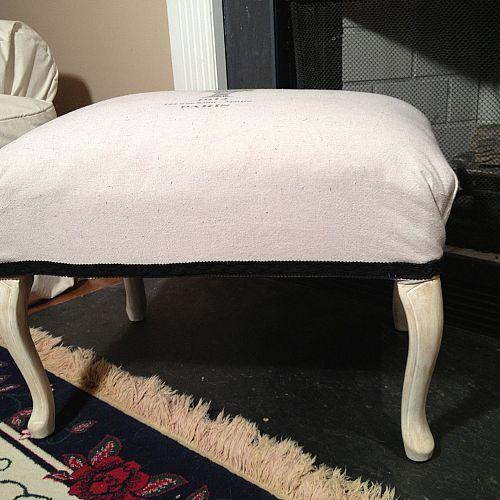 french ottoman makeover from trash to treasure, painted furniture