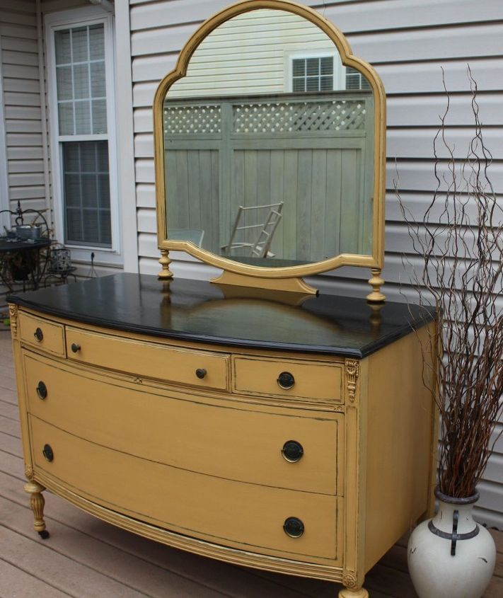 painted vintage dresser with mirror, chalk paint, home decor, painted furniture
