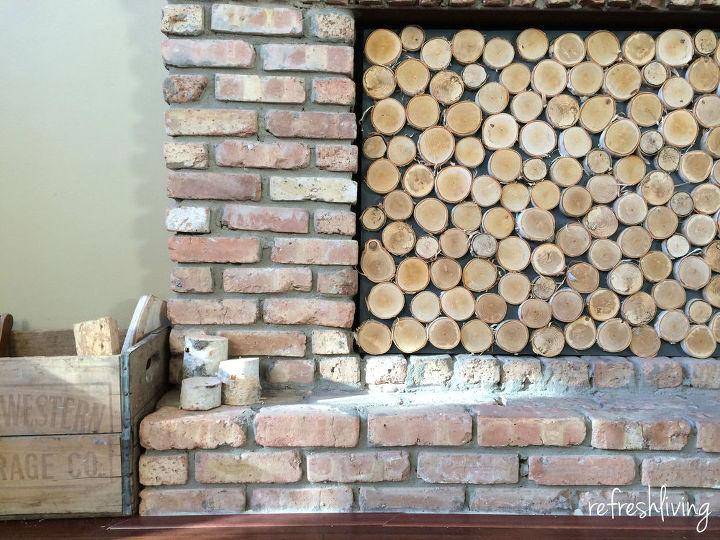 birch log fireplace screen, diy, fireplaces mantels