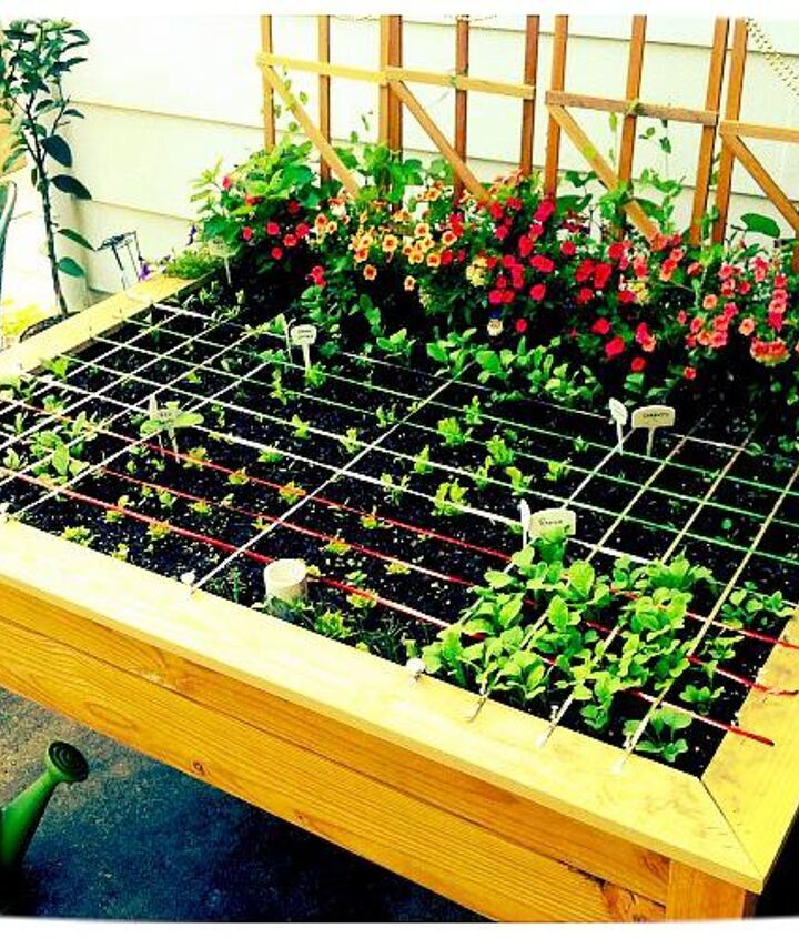 An organic, raised garden table, planted by the square foot method using companion herbs and flowers...and a little veggie bling.