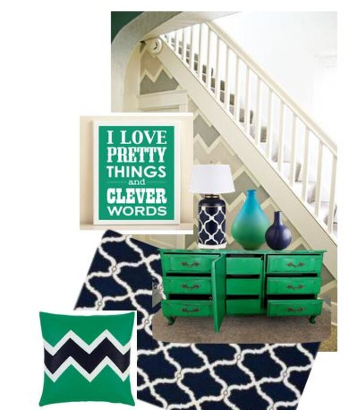 navy and emerald accents