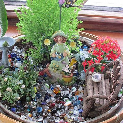 making fairy gardens awaiting for spring to arrive, gardening