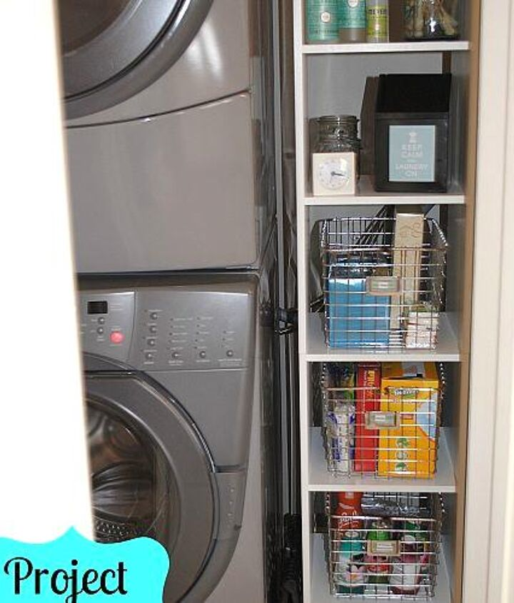 laundry room, cleaning tips, laundry rooms, shelving ideas, storage ideas, Organized cubbies hold laundry and cleaning supplies