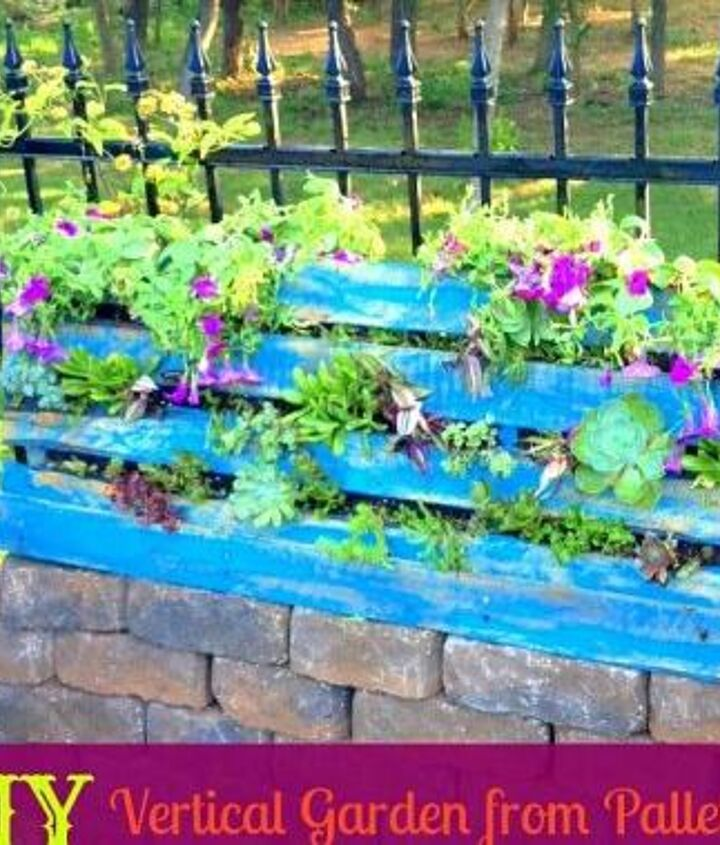Turning a pallet into a vertical garden is an inexpensive way to create something unique and beautiful for your yard.