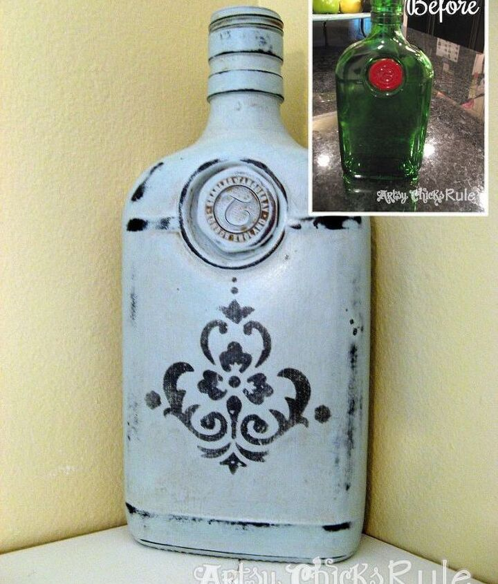 Even glass! Transform an old gin bottle into decorative home decor.