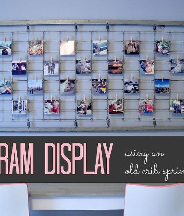 instagram photo display using old bed spring, home decor, repurposing upcycling