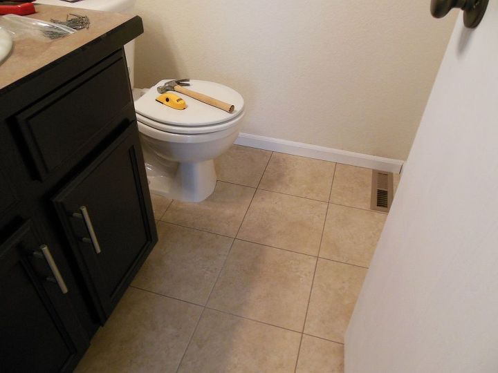 grouted vinyl tile, bathroom ideas, flooring, tile flooring, tiling, The room has a completely new feel to it and the tile looks just like ceramic in person Another plus about this tile is that it is not as cold as ceramic tile