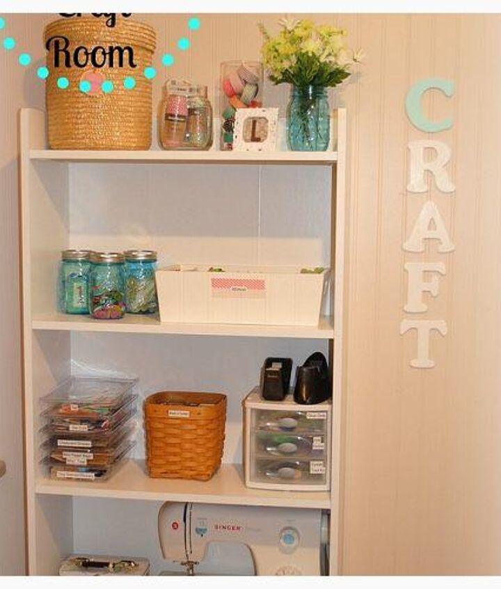 """This bookshelf was in my daughters bedroom . . . when she no longer wanted it I moved it to my craft room for additional storage. The """"craft"""" letters are from JoAnn Fabrics. I painted them and used  3-M tape to hang them up."""