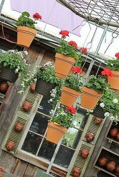 up cycled garden gate chandelier, gardening, repurposing upcycling, I used 7 pots for this project When making a cluster of objects always use an odd number for best results