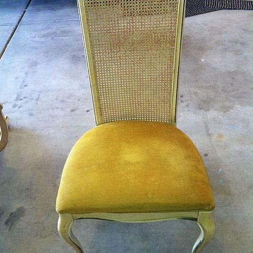 cane back chair makeover for the second time, painted furniture