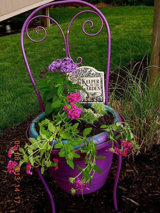 repurposed ice cream chair, gardening, repurposing upcycling