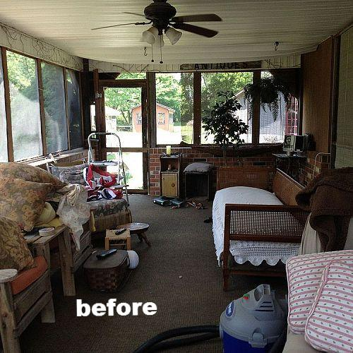 Before the renovation, which included ripping out that overheard vinyl ceiling and opening up the space.