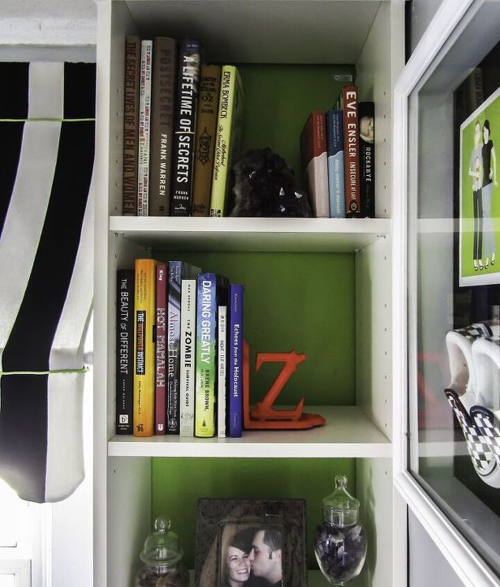 Bookcase styling on the right.