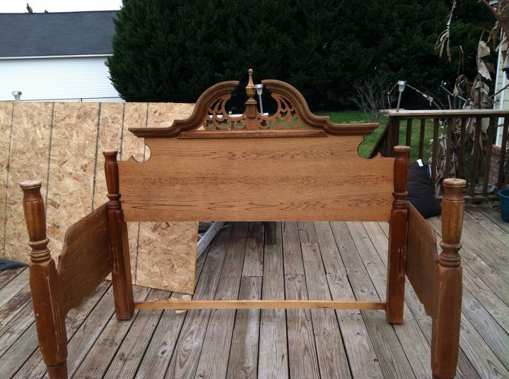 Fine An Outdoor Bench Made From An Old Queen Bed Frame Hometalk Ibusinesslaw Wood Chair Design Ideas Ibusinesslaworg