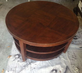 Nice Round Coffee Table Turns Into Tufted Ottoman, Painted Furniture, Reupholster