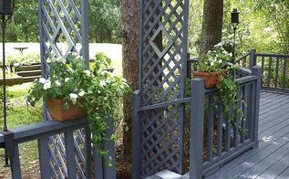 deck trellis, decks, outdoor living, Final steps and trellis in place painted and waiting for flower boxes and plants