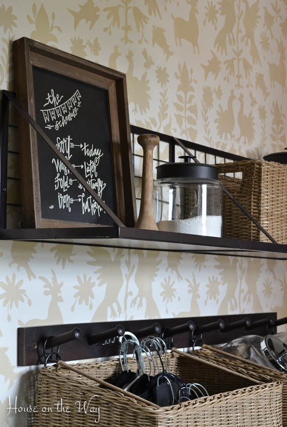 laundry room stenciled wall, laundry rooms, painting, wall decor