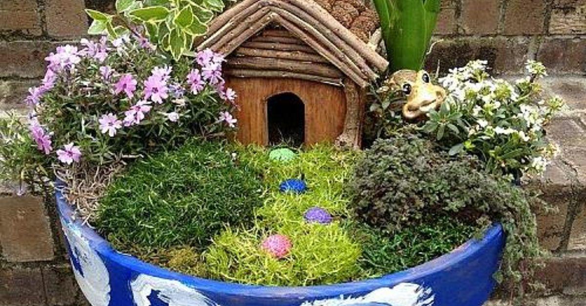 diy container fairy garden hometalk. Black Bedroom Furniture Sets. Home Design Ideas