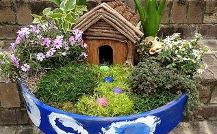 diy container fairy garden, container gardening, gardening, Finished Container Fairy Garden Whimsical and fun