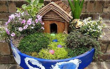diy container fairy garden, container gardening, gardening, Finished Container Fairy Garden Whimsical and fun