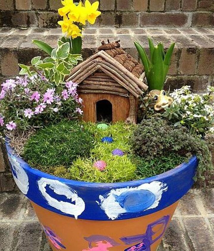 Finished Container Fairy Garden. Whimsical and fun!