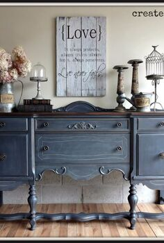 antique buffet in ash from fusion mineral paint, painted furniture, repurposing upcycling