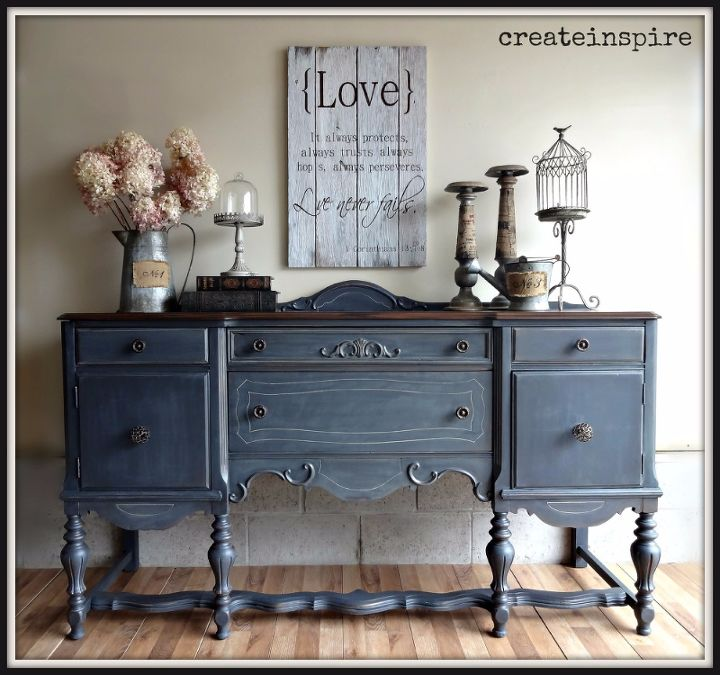antique buffet in ash from fusion mineral paint, painted furniture,  repurposing upcycling - DIY Antique Buffet Makeover Hometalk