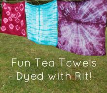 fun tea towels dyed with rit, crafts, how to